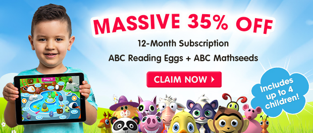 MASSIVE 35% OFF a 12-Month Subscription. ABC Reading Eggs and ABC Mathseeds. Includes up to 4 children. Claim Now